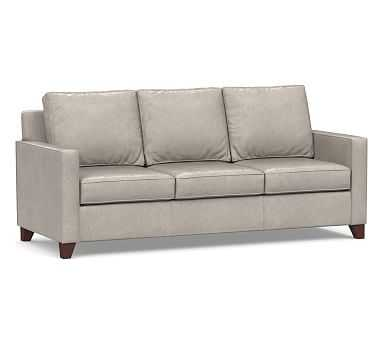 Cameron Square Arm Leather Sofa, Polyester Wrapped Cushions, Statesville Pebble - Pottery Barn