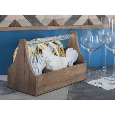 12 in. x 5 in. x 7 in. Wood and Acrylic ToolBox Wine Holder - Home Depot