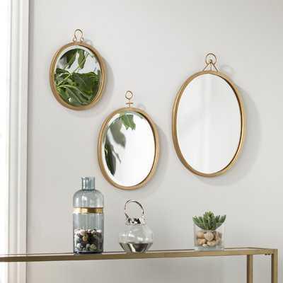 3 Piece Oval Metal Frame Mirror Set - Wayfair