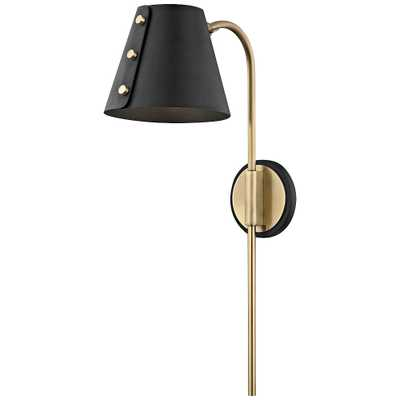 Mitzi Meta Aged Brass and Black LED Swing Arm Wall Lamp - Style # 45P64 - Lamps Plus