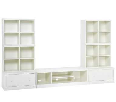 Cameron 4 Cubbies, XW Media Base & 2 Drawer Bases, Simply White, UPS - Pottery Barn Kids