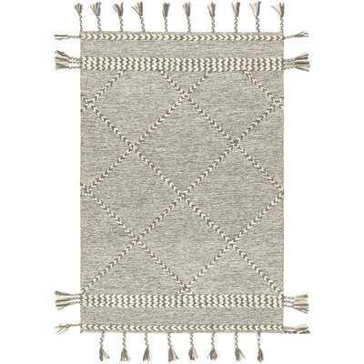 Hillyer Tassels Hand-Tufted Wool Gray/Cream Area Rug - AllModern