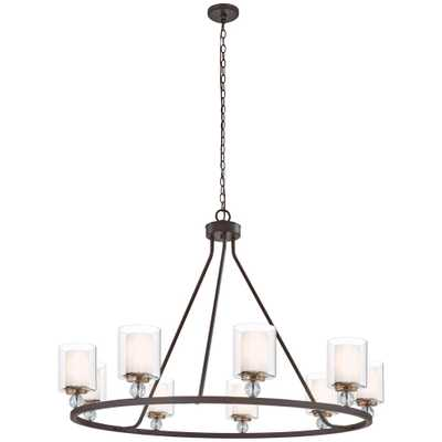 Minka Lavery Studio 5 9-Light Painted Bronze with Natural Brushed Brass Chandelier - Home Depot