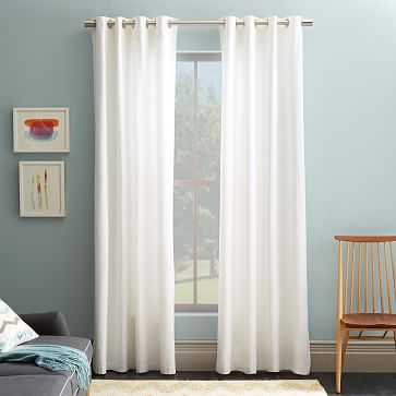 "Cotton Canvas Grommet Curtain, Set of 2, White, 48""x84"" - West Elm"
