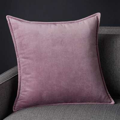 "Brenner Lavender Velvet Pillow with Down-Alternative Insert 20"" - Crate and Barrel"