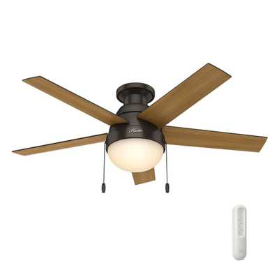 Hunter Anslee 46 in. Indoor Low Profile Premier Bronze Ceiling Fan with Light bundled with Handheld Remote Control - Home Depot
