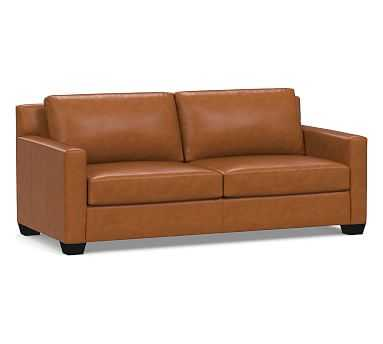 York Square Arm Leather Sofa Down Blend Wrapped Cushions, Signature Maple - Pottery Barn