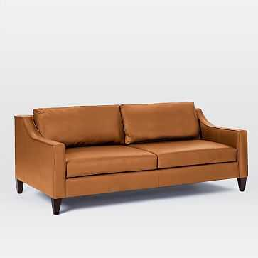 Paidge Grand Sofa, Leather, Saddle, Poly, Taper Chocolate - West Elm
