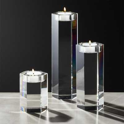 Hex Crystal Tea Light Candle Holders Set of 3 - CB2