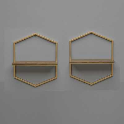 Gold Modern Geometric Shelf (Set of 2) - Home Depot