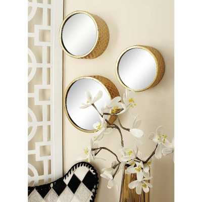 7-Piece Round Gold Decorative Framed Mirror Set - Home Depot