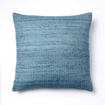 """Woven Silk Pillow Cover, 20""""x20"""", Midnight - West Elm"""
