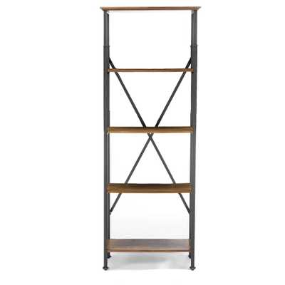 Lancashire Brown Open Bookcase, Medium Brown Wood - Home Depot