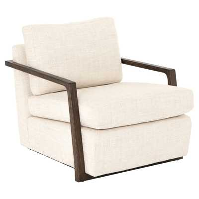 Jude Modern Classic Ivory Upholstered Dark Oak Arm Chair - Kathy Kuo Home