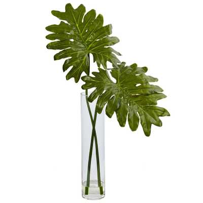 Indoor Selloum Artificial Plant in Cylinder Glass - Home Depot