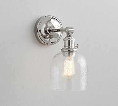 PB Classic Textured Glass Nickel Sconce - Pottery Barn