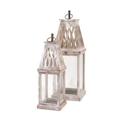 Bolton White Wash Lanterns (2-Piece) - Home Depot
