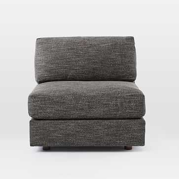 Urban Armless Chair, Heathered Tweed Charcoal, Down Fill - West Elm