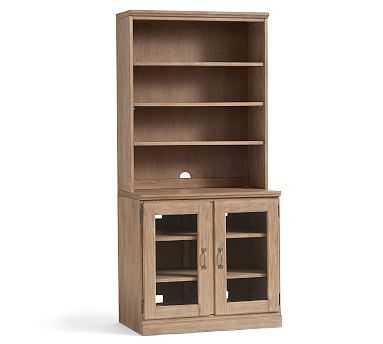 Printer's Glass Cabinet Bookshelf, Seadrift - Pottery Barn