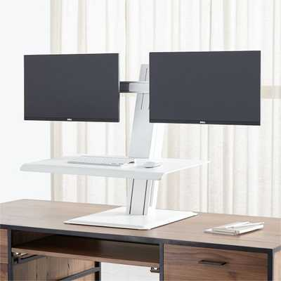 Humanscale ® White Dual Monitor Quickstand Eco Standing Desk Converter - Crate and Barrel