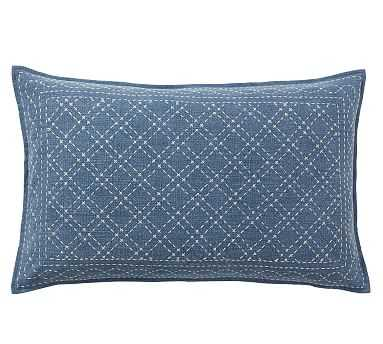 "Flint Embroidered Lumbar Pillow Cover, 16 x 26"", Blue - Pottery Barn"