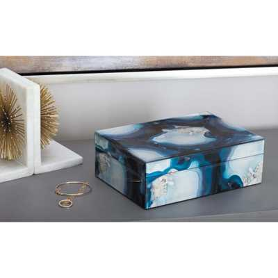 Jewelry Box with Marbling Panels in Blue and Black, Blue And White - Home Depot