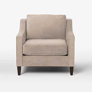Paidge Chair, Poly, Luster Velvet, Dusty Blush, Taper Pecan - West Elm