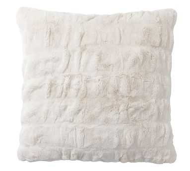 "Ruched Faux Fur Pillow Cover, 18"", Ivory - Pottery Barn"