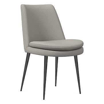 Finley Dining Chair, Low Back, Gunmetal Leg, Basket Slub, Feather Gray, Gunmetal - West Elm