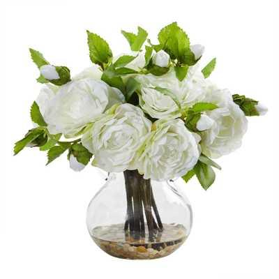 Nearly Natural Indoor Camellia Artificial Arrangement in Vase - Home Depot