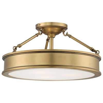 Minka Lavery Harbour Point 3-Light Liberty Gold Semi-Flush Mount Light - Home Depot