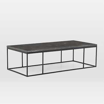Limestone + Iron Rectangular Coffee Table - West Elm