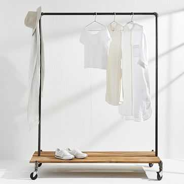 "Monroe Trades Clothing Rack + Distressed Wood Platform, 67"" H X 22"" D, Without Hook - West Elm"