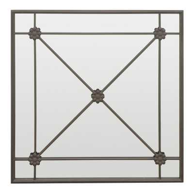Decorative Metal Wall Mirror with Cross Bar Detailing - Home Depot