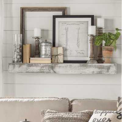 Floating Shelf in Shabby White Solid Wood Handmade Rustic Style Shelf - Birch Lane