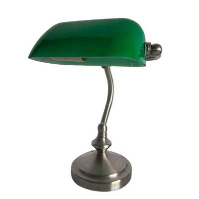 Limelights 9.90 in. Traditional Green Mini Banker's Lamp with Glass Shade - Home Depot