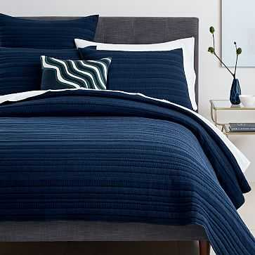 Organic Dobby Ladder Stripe Coverlet, King, Midnight - West Elm