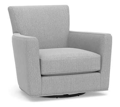 Irving Square Arm Upholstered Swivel Armchair without Nailheads, Polyester Wrapped Cushions, Sunbrella(R) Performance Chenille Fog - Pottery Barn