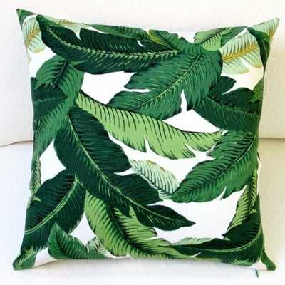 Jaylee Island Hopping Emerald Tropical Palm Leaf Outdoor Pillow Cover, set of 2 - Wayfair