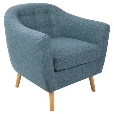 Rockwell Mid - Century Modern Chair With Noise Fabric - Blue - Lumisource - Target