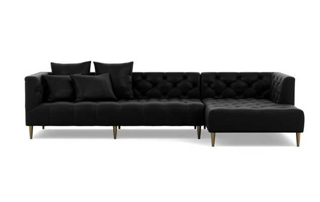 Ms. Chesterfield leather Chaise Sectional with Night and Brass Plated legs - Interior Define