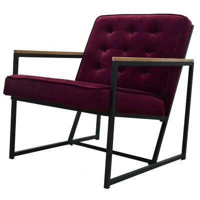 Perrone Mid-century Modern Accent Chair, Burgundy Upholstered Velvet Armchair with Black Metal Frame Living Room Furniture - Wayfair