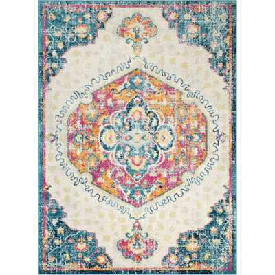 Well Woven Sydney Branna Fuchsia Vintage Bohemian Medallion 7 ft. 10 in. x 9 ft. 10 in. Distressed Area Rug, Pink - Home Depot