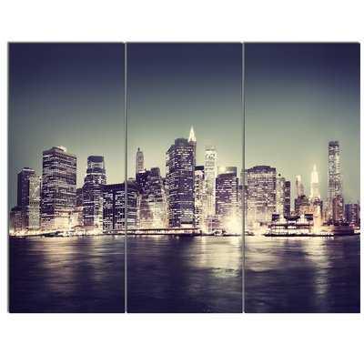 Black and White NYC Night Panorama' 3 Piece Photographic Print on Metal Set - Wayfair