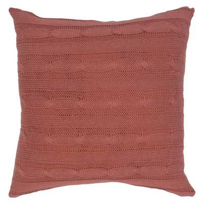 "Paprika Sweater Knit Throw Pillow 18""x18"" - Rizzy Home, Paprika Red - Target"