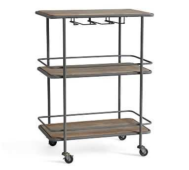 Elise Bar Cart, Weathered Gray - Pottery Barn