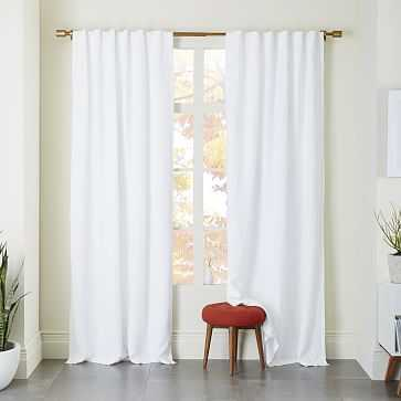 "Belgian Linen Curtain + Blackout Panel, White, 48""x96"" - Individual - West Elm"