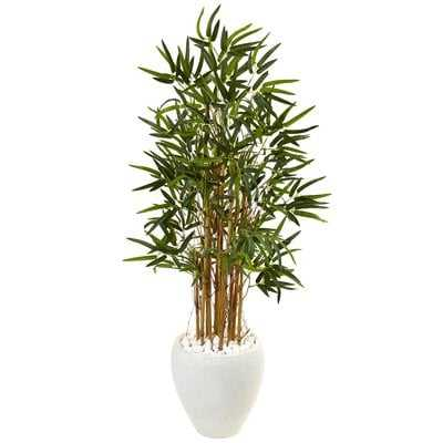 Artificial Faux Floor Bamboo Tree in Round Tapered Planter - Wayfair