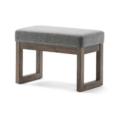 Milltown Small Ottoman Bench in Gray Linen Look Fabric - Wyndenhall - Target