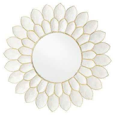 Capiz Flower Mirror, White/Gold - Pottery Barn Teen